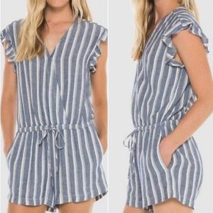 Cloth & Stone Ruffle Sleeve Striped Romper